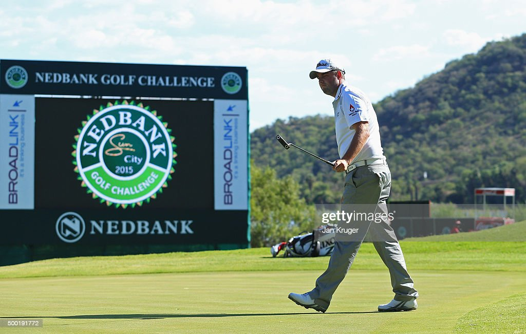 Marc Leishman of Australia reacts after a birdie on the 16th green during the final round on day four of the Nedbank Golf Challenge at Gary Player CC on December 6, 2015 in Sun City, South Africa.