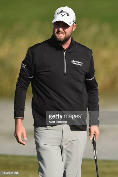 Marc Leishman of Australia reacts on the 18th green during the final round of the CJ Cup at Nine Bridges on October 22 2017 in Jeju South Korea