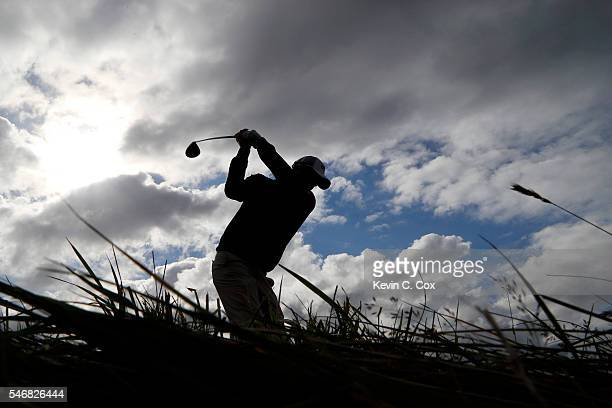 Marc Leishman of Australia tees off on the 4th hole during a practice round ahead of the 145th Open Championship at Royal Troon on July 13 2016 in...