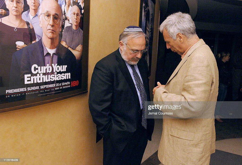 Marc Levin, writer-director of 'Protocols of Zion' (R), speaks with Rabbi Abraham Cooper, Associate Dean of the Simon Wiesenthal Center