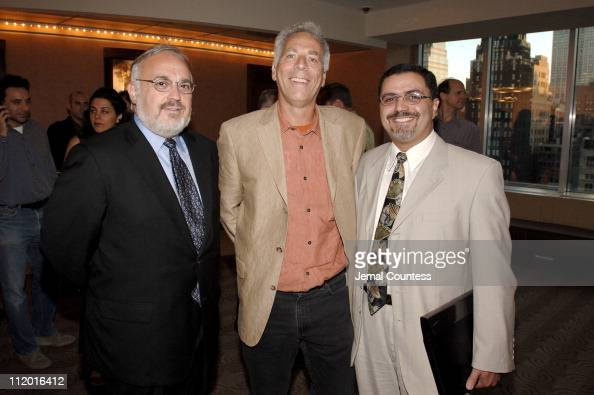 Marc Levin writerdirector of 'Protocols of Zion' with Rabbi Abraham Cooper Associate Dean of the Simon Wiesenthal Center and Mehdi Eliefif