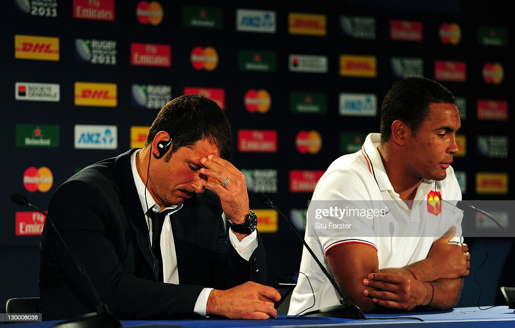 <a gi-track='captionPersonalityLinkClicked' href=/galleries/search?phrase=Marc+Lievremont&family=editorial&specificpeople=2726997 ng-click='$event.stopPropagation()'>Marc Lievremont</a> the head coach of France (L) and captain <a gi-track='captionPersonalityLinkClicked' href=/galleries/search?phrase=Thierry+Dusautoir&family=editorial&specificpeople=544025 ng-click='$event.stopPropagation()'>Thierry Dusautoir</a> show their dejection as they speak to the media in a post match press conference after the 2011 IRB Rugby World Cup Final match between France and New Zealand at Eden Park on October 23, 2011 in Auckland, New Zealand.