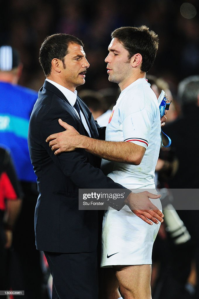<a gi-track='captionPersonalityLinkClicked' href=/galleries/search?phrase=Marc+Lievremont&family=editorial&specificpeople=2726997 ng-click='$event.stopPropagation()'>Marc Lievremont</a> the head coach of France comforts Dmitri Yachvili after losing 7-8 in the 2011 IRB Rugby World Cup Final match between France and New Zealand at Eden Park on October 23, 2011 in Auckland, New Zealand.