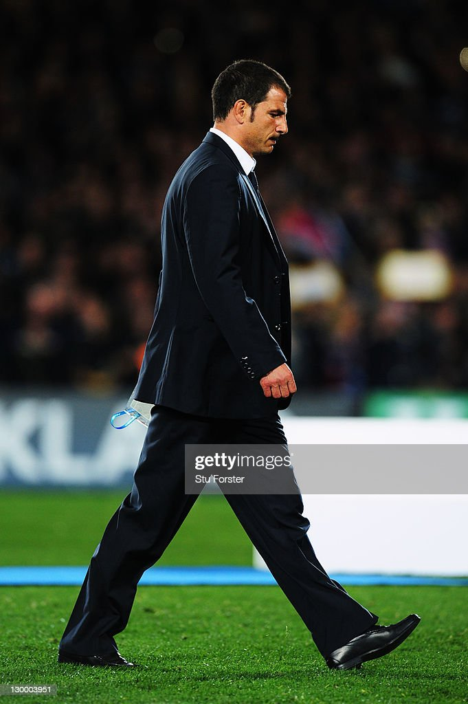 <a gi-track='captionPersonalityLinkClicked' href=/galleries/search?phrase=Marc+Lievremont&family=editorial&specificpeople=2726997 ng-click='$event.stopPropagation()'>Marc Lievremont</a> the head coach of France shows his dejection after losing 7-8 in the 2011 IRB Rugby World Cup Final match between France and New Zealand at Eden Park on October 23, 2011 in Auckland, New Zealand.