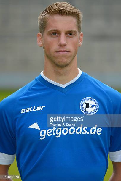Marc Lorenz poses during the Second Bundesliga team presentation of Arminia Bielefeld at Schueco Arena on June 27 2013 in Bielefeld Germany
