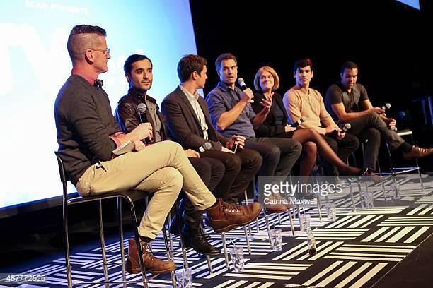 Marc Malkin of E News actor Frankie Alvarez actor Jonathan Groff actor Murray Bartlett Executive producer Sarah Condon actor Raul Castillo and actor...