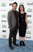 Marc Maron and Actress Moon Zappa attend the 2014 Film Independent Spirit Awards at Santa Monica Beach on March 1 2014 in Santa Monica California