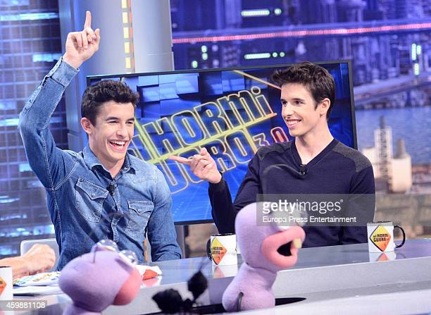 Marc Marquez and Alex Marquez attend The Hormiguero Tv show on December 2 2014 in Madrid Spain