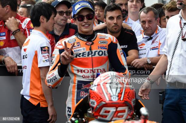 Marc Marquez celebrate the second place during MotoGP Grand Prix of Austria at Red Bull Ring Spielberg Austria