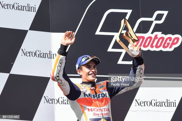 Marc Marquez celebrate the second place on podium during MotoGP Grand Prix of Austria at Red Bull Ring Spielberg Austria