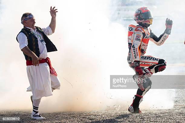 93 Marc Marquez from Spain of Repsol Honda Team celebrating with his fans during the race of Moto GP Gran Premio Motul de la Comunitat Valenciana at...