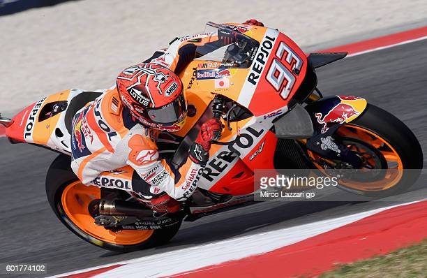 Marc Marquez of Repsol Honda Team in action during the MotoGP of San Marino Qualifying at Misano World Circuit on September 10 2016 in Misano...