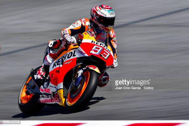 Marc Marquez of Repsol Honda Team riding his bike during the Free Practice 3 Moto GP of Catalunya at Circuit de Catalunya on June 10 2017 in Montmelo...