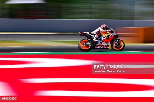 Marc Marquez of Repsol Honda Team riding his bike during the Free Practice 3 Moto GP of Catalunya at Circuit de Catalunya on June 10 2017 in Montmelo...