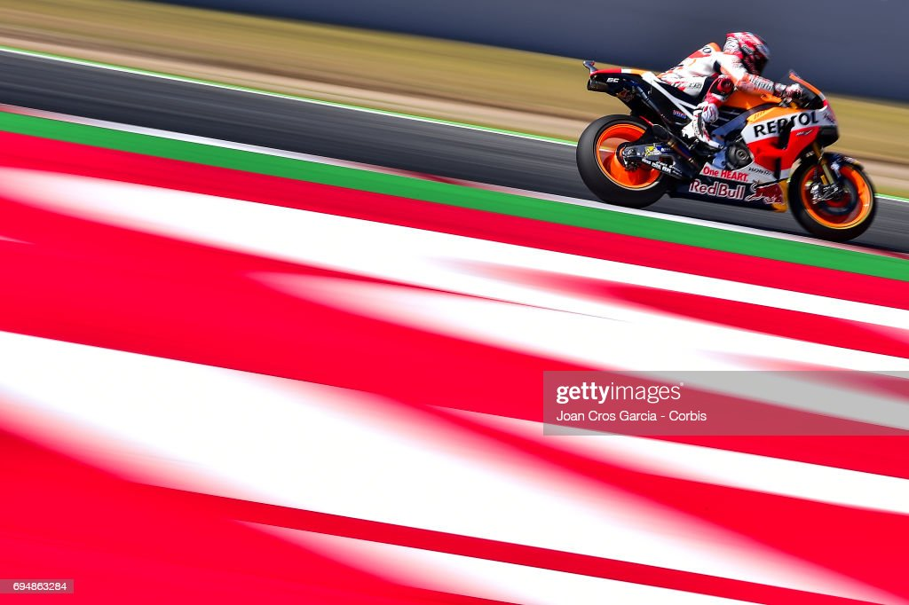 Marc Marquez of Repsol Honda Team, riding his bike during the Qualifying, Moto GP of Catalunya at Circuit de Catalunya on June 10, 2017 in Montmelo, Spain.