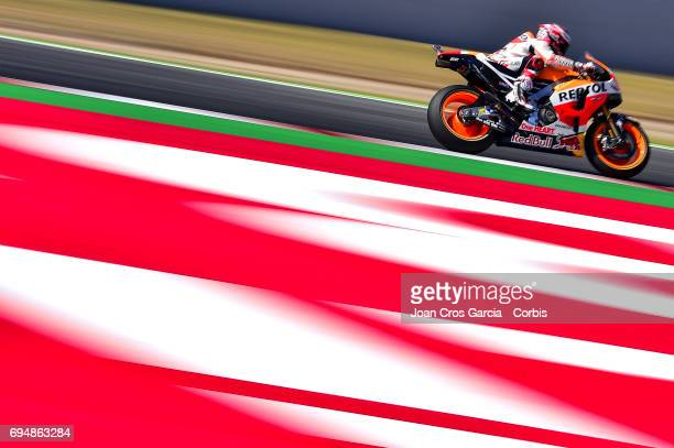 Marc Marquez of Repsol Honda Team riding his bike during the Qualifying Moto GP of Catalunya at Circuit de Catalunya on June 10 2017 in Montmelo Spain