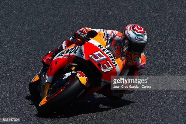 Marc Marquez of Repsol Honda Team riding his bike during the Moto GP race Moto GP of Catalunya at Circuit de Catalunya on June 11 2017 in Montmelo...