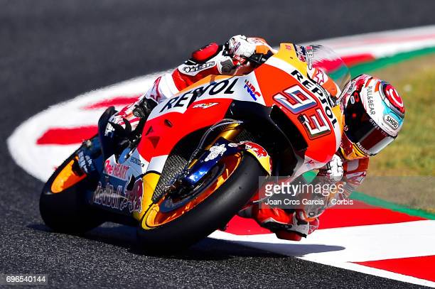 Marc Marquez of Repsol Honda Team riding through a curve during the Free Practice 3 Moto GP of Catalunya at Circuit de Catalunya on June 10 2017 in...