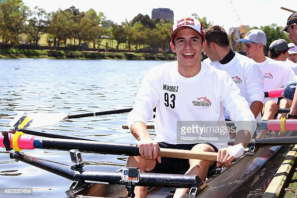 Marc Marquez of Repsol Honda Team sits in at boat at Richmond Rowing Club on October 14 2015 in Melbourne Australia The 2015 Australian MotoGP is...