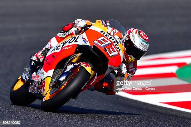 Marc Marquez of Repsol Honda Team steering his bike during the Free Practice 3 Moto GP of Catalunya at Circuit de Catalunya on June 10 2017 in...