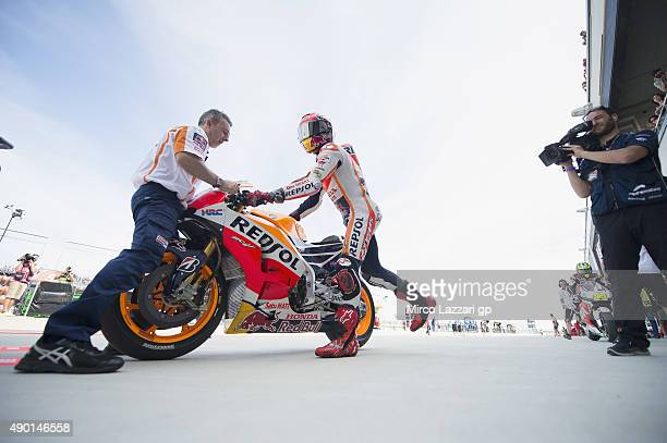 Marc Marquez of Spain and Repsol Honda starts from box during the qualifying practice during the MotoGP of Spain Qualifying at Motorland Aragon...