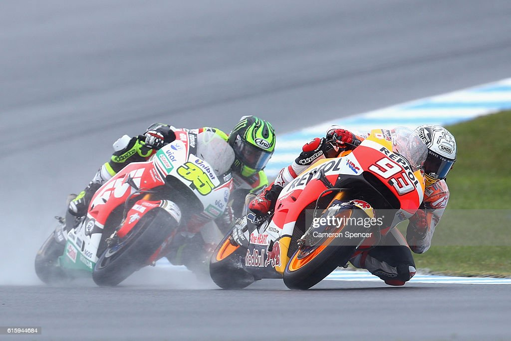 Marc Marquez of Spain and Repsol Honda Team and Cal Crutchlow of Great Britain and LCR Honda during free practice for the 2016 MotoGP of Australia at Phillip Island Grand Prix Circuit on October 21, 2016 in Phillip Island, Australia.
