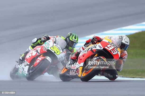 Marc Marquez of Spain and Repsol Honda Team and Cal Crutchlow of Great Britain and LCR Honda during free practice for the 2016 MotoGP of Australia at...