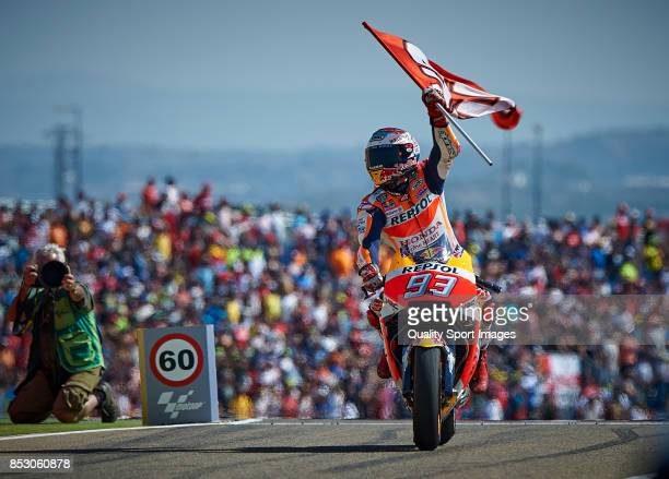 Marc Marquez of Spain and Repsol Honda Team celebrates after winning the MotoGP of Aragon at Motorland Aragon Circuit on September 24 2017 in Alcaniz...