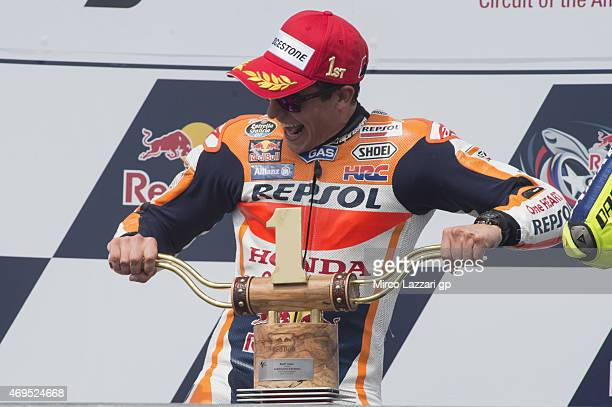 Marc Marquez of Spain and Repsol Honda Team celebrates on the podium the victory at the end of the MotoGP race during the MotoGp Red Bull US Grand...