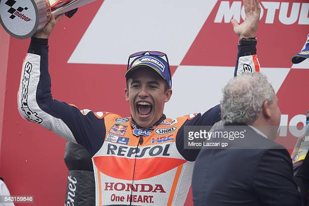 Marc Marquez of Spain and Repsol Honda Team celebrates on the podium the second place at the end of the MotoGP race during the MotoGP Netherlands...