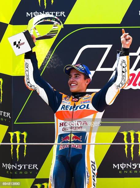 Marc Marquez of Spain and Repsol Honda Team celebrates on the podium after finishing second the MotoGp of Catalunya at Circuit de Catalunya on June...