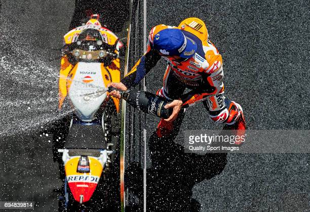 Marc Marquez of Spain and Repsol Honda Team celebrates on the podium after the MotoGp race for the MotoGP of Catalunya at Circuit de Catalunya on...