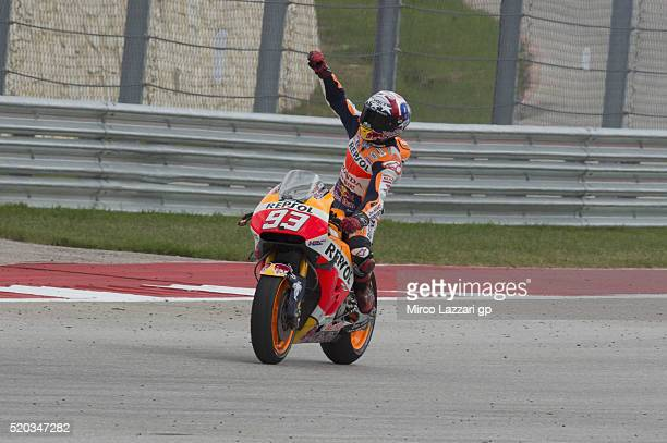 Marc Marquez of Spain and Repsol Honda Team celebrates the victory at the end of the MotoGP race during the MotoGp Red Bull US Grand Prix of The...