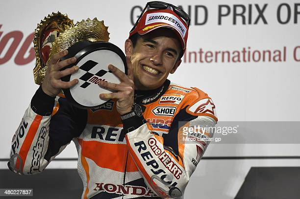 Marc Marquez of Spain and Repsol Honda Team celebrates the victory on the podium at the end of the MotoGP race during the MotoGp of Qatar Race at...