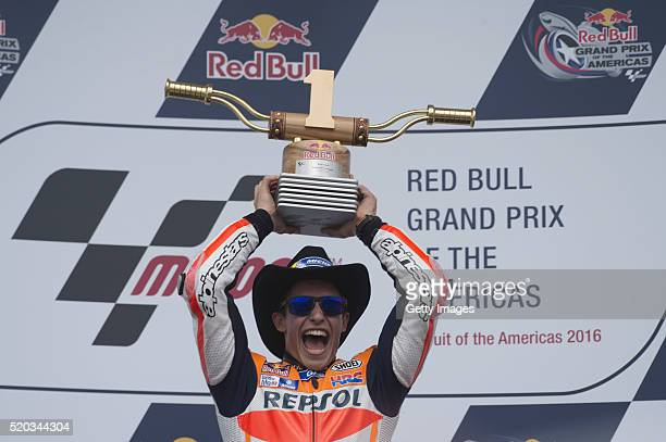 Marc Marquez of Spain and Repsol Honda Team celebrates the victory on the podium at the end of the MotoGP race during the MotoGp Red Bull US Grand...