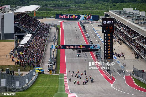 Marc Marquez of Spain and Repsol Honda Team exits from the pole position during the MotoGP Red Bull US Grand Prix of The Americas Finals at Circuit...