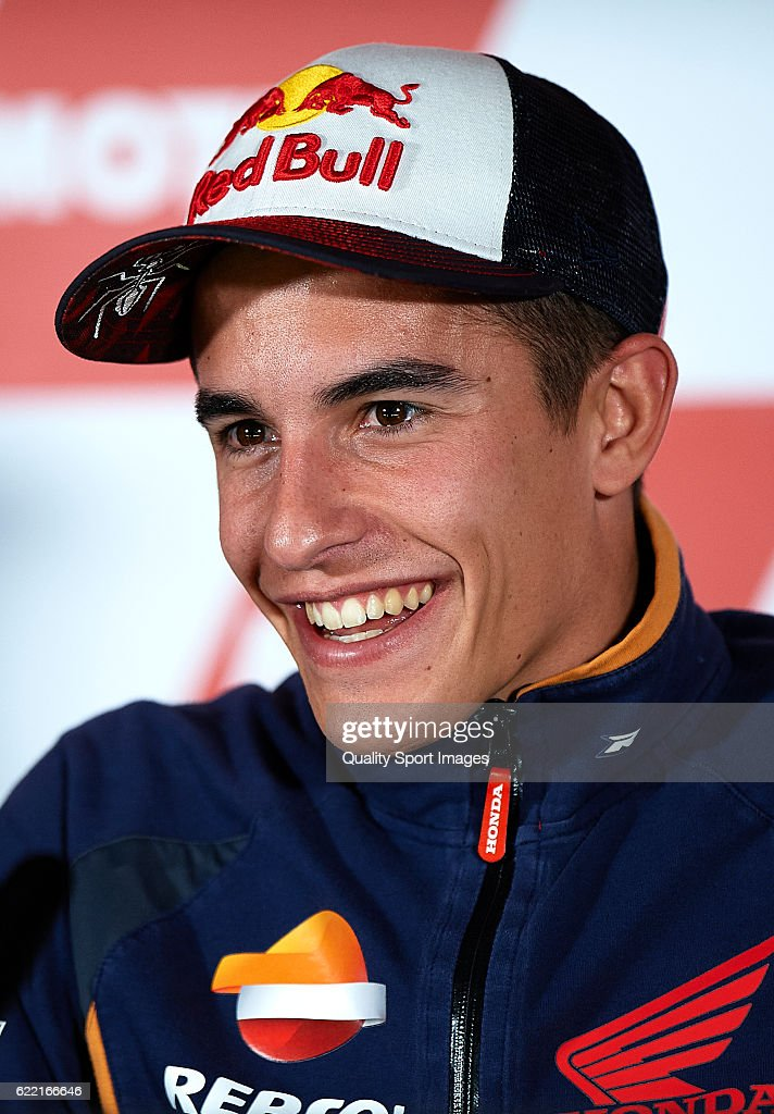 Marc Marquez of Spain and Repsol Honda Team faces the media during a press conference ahead of the MotoGP of Valencia at Comunitat Valenciana Ricardo Tormo Circuit on November 10, 2016 in Valencia, Spain.