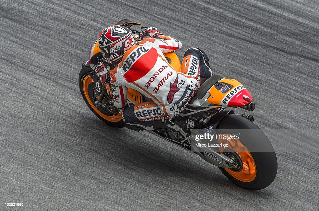 Marc Marquez of Spain and Repsol Honda Team heads down a straight during MotoGP Tests in Sepang - Day Three at Sepang Circuit on February 28, 2013 in Kuala Lumpur, Malaysia.