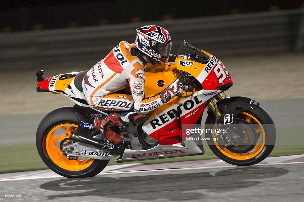 <a gi-track='captionPersonalityLinkClicked' href=/galleries/search?phrase=Marc+Marquez&family=editorial&specificpeople=5409395 ng-click='$event.stopPropagation()'>Marc Marquez</a> of Spain and Repsol Honda Team heads down a straight during the MotoGp of Qatar - Qualifying at Losail Circuit on April 6, 2013 in Doha, Qatar.
