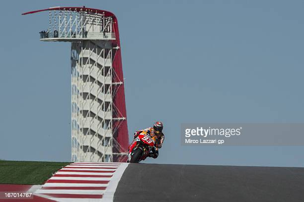 Marc Marquez of Spain and Repsol Honda Team heads down a straight during the MotoGp Red Bull US Grand Prix of The Americas Free Practice at Circuit...