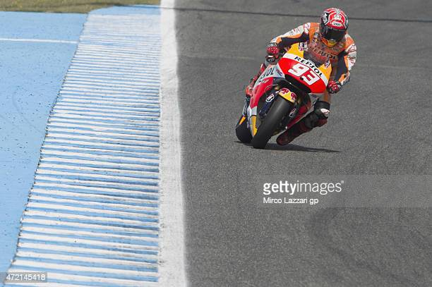 Marc Marquez of Spain and Repsol Honda Team heads down a straight during the MotoGp Tests In Jerez at Circuito de Jerez on May 4 2015 in Jerez de la...