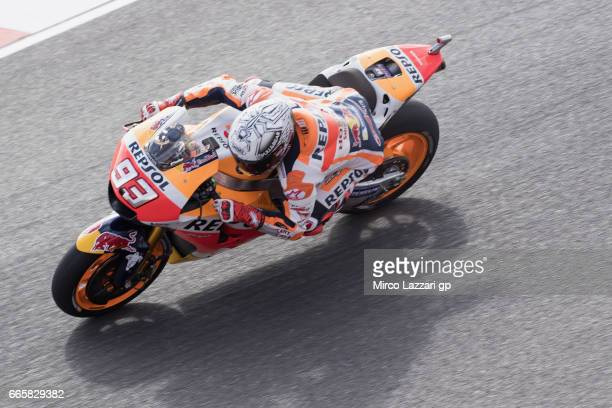 Marc Marquez of Spain and Repsol Honda Team heads down a straight during the MotoGp of Argentina Free Practice on April 7 2017 in Rio Hondo Argentina