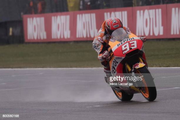 Marc Marquez of Spain and Repsol Honda Team heads down a straight during the MotoGP Netherlands Qualifying on June 24 2017 in Assen Netherlands