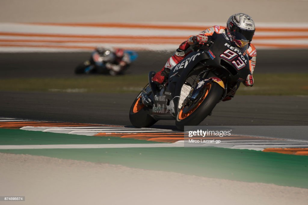 Marc Marquez of Spain and Repsol Honda Team heads down a straight during the MotoGP Tests In Valencia day 2 at Comunitat Valenciana Ricardo Tormo Circuit on November 15, 2017 in Valencia, Spain.