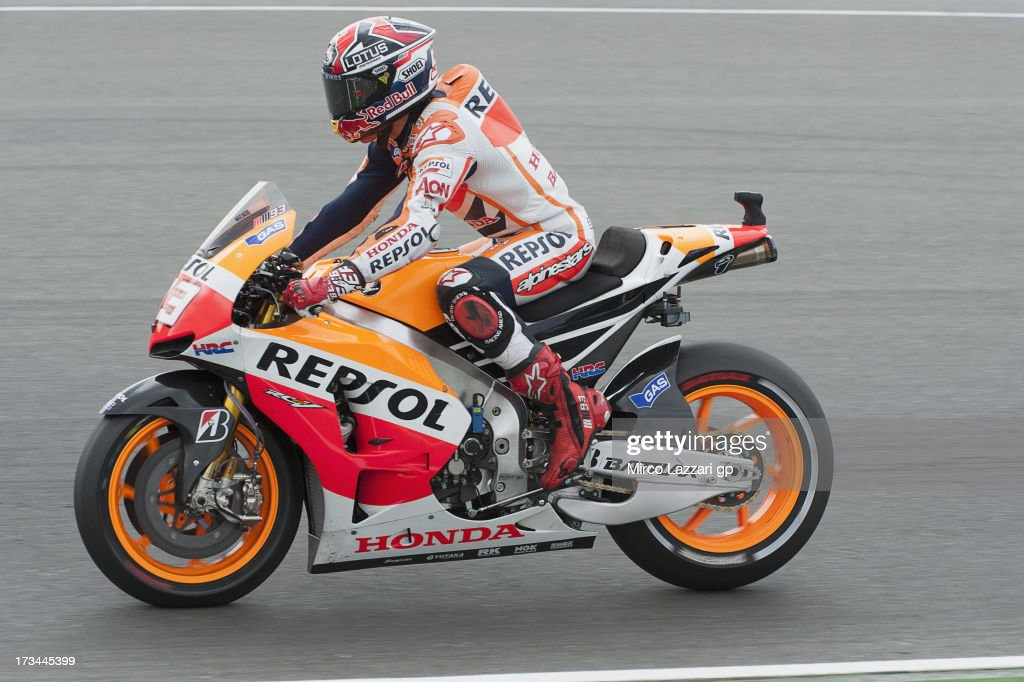 Marc Marquez of Spain and Repsol Honda Team heads down a straight the MotoGP race during the MotoGp of Germany - Race at Sachsenring Circuit on July 14, 2013 in Hohenstein-Ernstthal, Germany.