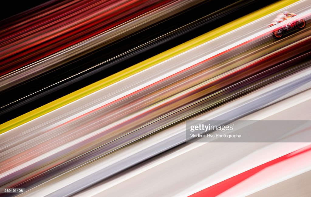 Marc Marquez of Spain and Repsol Honda Team in action during qualifying for the MotoGP of Catalunya at Circuit de Barcelona on June 04 2016 in...