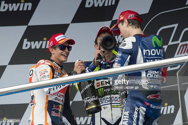 Marc Marquez of Spain and Repsol Honda Team Jorge Lorenzo of Spain and Movistar Yamaha MotoGP and Valentino Rossi of Italy and Movistar Yamaha MotoGP...