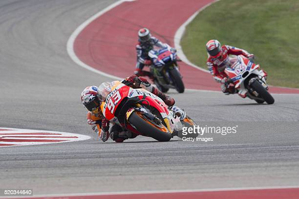 Marc Marquez of Spain and Repsol Honda Team leads the field during the MotoGP race during the MotoGp Red Bull US Grand Prix of The Americas Race at...