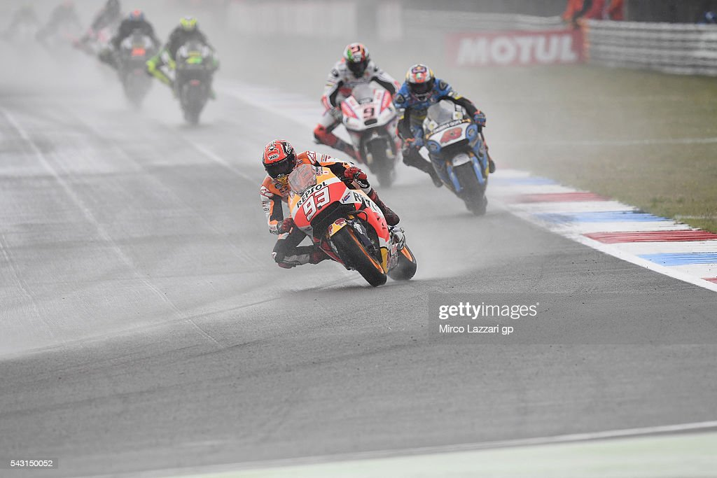 <a gi-track='captionPersonalityLinkClicked' href=/galleries/search?phrase=Marc+Marquez&family=editorial&specificpeople=5409395 ng-click='$event.stopPropagation()'>Marc Marquez</a> of Spain and Repsol Honda Team leads the field during the MotoGP race during the MotoGP Netherlands - Race at on June 26, 2016 in Assen, Netherlands.