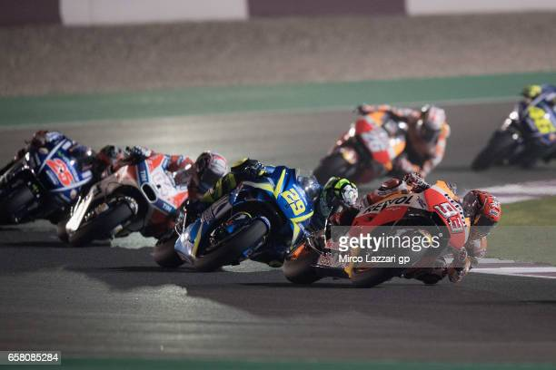 Marc Marquez of Spain and Repsol Honda Team leads the field during the MotoGP race during the MotoGp of Qatar Race at Losail Circuit on March 26 2017...